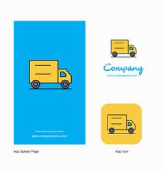 Truck company logo app icon and splash page vector