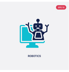 Two color robotics icon from computer concept vector