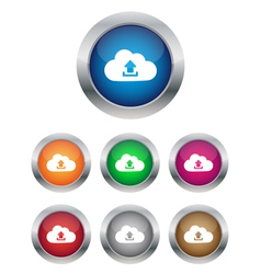 Upload to cloud buttons vector