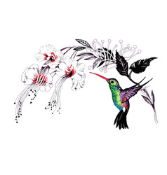 Watercolor drawing bird artistic painting at vector