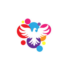 White dove with circle color background logo vector