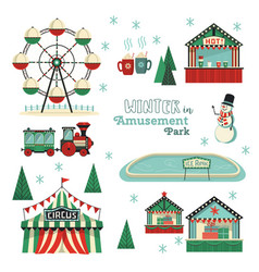 Winter amusement park flat icon set vector
