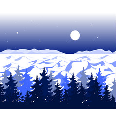 winter panoramic landscape with trees on hills and vector image