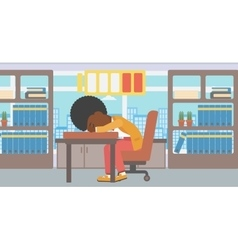 Woman sleeping at workplace vector image