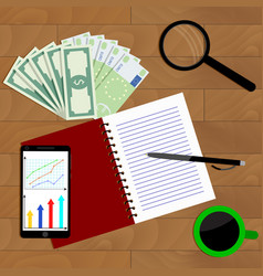 Workplace of exchange trader top view vector