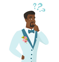 Young african-american groom with question marks vector