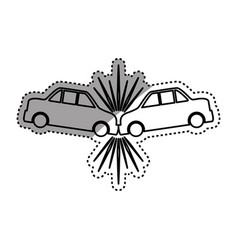 Cars crashing accident pictogram vector