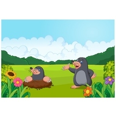 Cartoon happy mole in the forest vector image