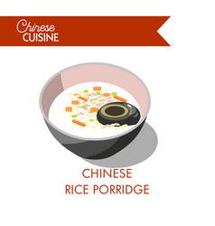 chinese rice porridge in bowl isolated on white vector image