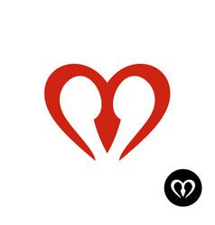 letter m heart style logo vector image