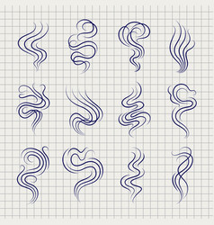 smoke smell line sketch icons vector image vector image