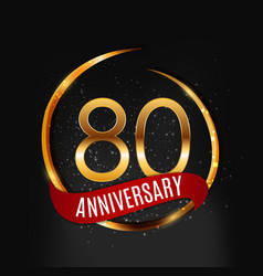 Template gold logo 80 years anniversary with red vector