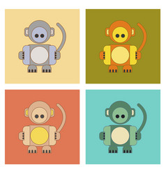 assembly flat icons kids toy monkey vector image vector image