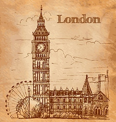 Bigben in London Landscape on a vintage postcard vector image