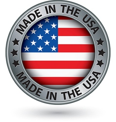 Made in the USA silver label vector image