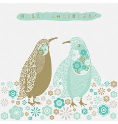 Retro Christmas Birds Card vector image vector image