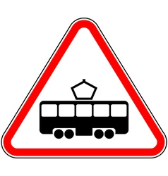 Road sign intersection with the tram line vector image