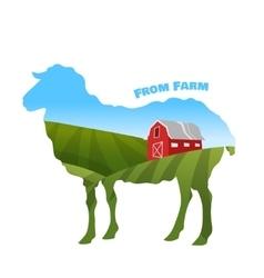 Farm landscape inside sheep silhouette concept of vector