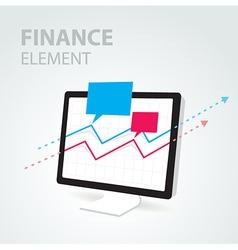 finance diagram icon element computer pc display vector image vector image