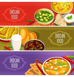 Indian Food Horizontal Banners Set vector image