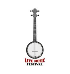 music festival emblem design with banjo vector image vector image