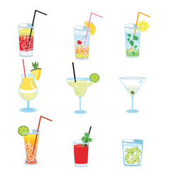 set of alcoholic cocktails collection of vector image vector image