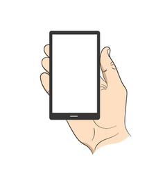 Smartphone in hand man vector image