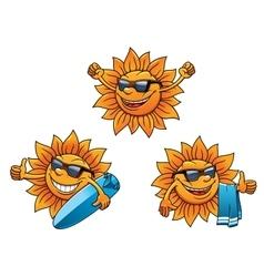 Trendy hip summer sun characters vector image