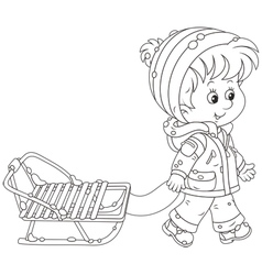 Child with a sleigh vector image