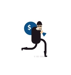 isolated thief with bag of money vector image