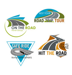road trip tour and travel icons set vector image vector image