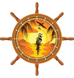 Sailboat and wheel vector image