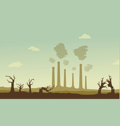 silhouette of industry and broken forest vector image vector image