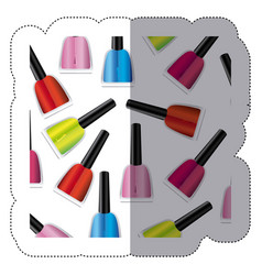 sticker colorful silhouette with nail polish vector image