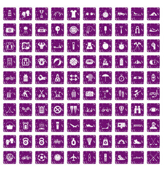 100 active life icons set grunge purple vector image