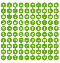 100 farm icons hexagon green vector