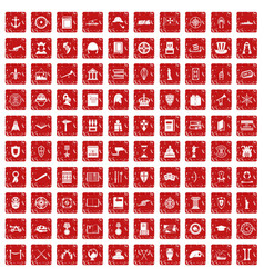 100 history icons set grunge red vector