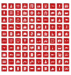 100 property icons set grunge red vector image