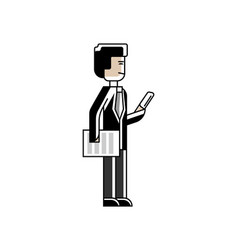 Asian businessman standing with document vector