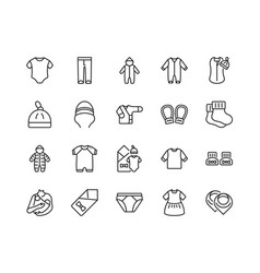 Baby clothes flat line icon set vector