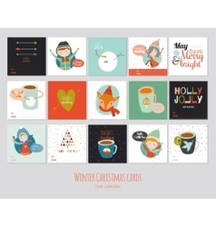 Big set of square winter cards vector
