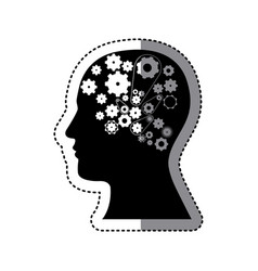 black contour human with white gear icon vector image