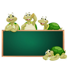 Blackboard with turtles on frame vector