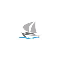 Boat sails sea yacht sailing logo design vector