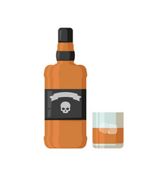Bottle and glass whiskey with ice vector