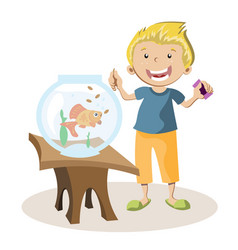 boy feeding little fish in their fish tank vector image