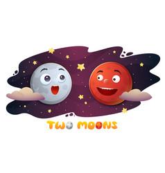 cartoon characteres mars and moon vector image