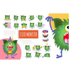cartoon cute green monster composition vector image