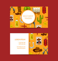 cartoon wild west business card design vector image