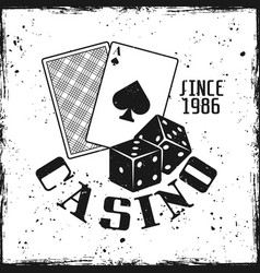 casino gambling emblem with playing cards and dice vector image